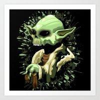 Skull Yoda Jedi Master  Art Print