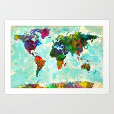 Abstract Watercolor World Map Art Print