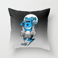 StormBot - Blue Robot Throw Pillow