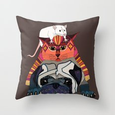 mouse cat pug chocolate Throw Pillow
