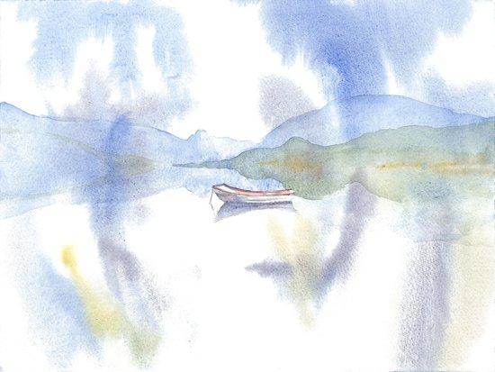 Watercolor Scotland Loch Art Print