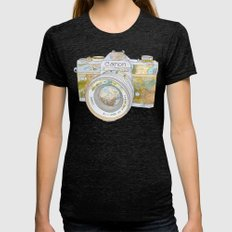 Travel Canon Womens Fitted Tee Tri-Black SMALL