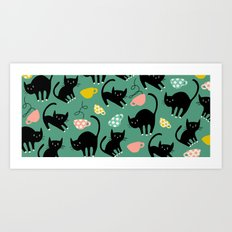 Cats on Coffee! Art Print