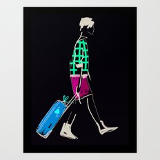 stylish girl walking Art Print