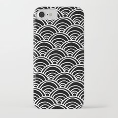 Waves All Over - White on Black iPhone 7 Slim Case