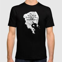 Boy's best friend – Norman Bates Psycho Silhouette Quote Mens Fitted Tee Black SMALL