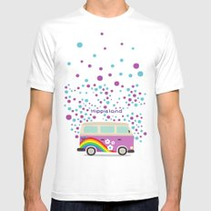 Hippie Land Mens Fitted Tee White SMALL