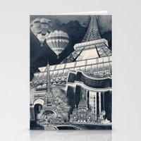 French Collage v1 Negative Stationery Cards