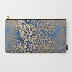 Blue and Gold Mandala Pattern Carry-All Pouch