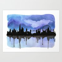 London Skyline 2 Blue Art Print