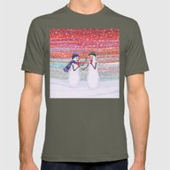 Snowmen With Popsicles Mens Fitted Tee Lieutenant SMALL