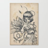 Girl and Flower Canvas Print