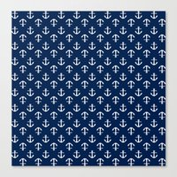 White And Blue Anchors Canvas Print