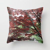 Red Japanese maple tree in Van Dusen Garden, Vancouver, BC, Canada. Floral nature photography. Throw Pillow