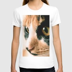 Thinking Cat Womens Fitted Tee White SMALL