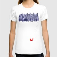white T-shirts featuring Alone in the forest by Robert Farkas