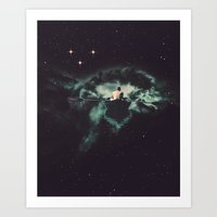 Art Prints featuring Rowing Through Space by TRASH RIOT