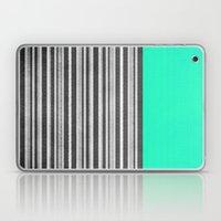 Mint Gray Stripes Laptop & iPad Skin