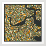 Art Print featuring B0STON MAP by Jazzberry Blue