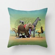 Skin-Swap Safari Throw Pillow