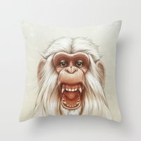 The White Angry Monkey Throw Pillow