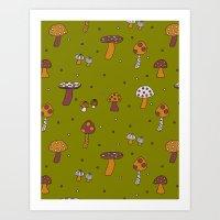 Mushrooms Green Art Print
