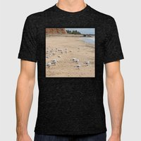 Gulls enjoying summer at the beach Mens Fitted Tee Tri-Black SMALL