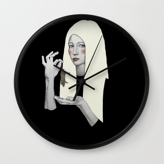 Vana in black Wall Clock