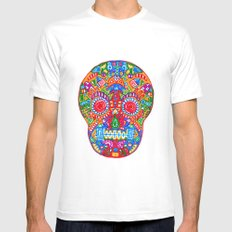 A really colourful skull SMALL White Mens Fitted Tee