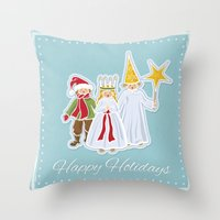 Happy Holidays says Saint Lucia Throw Pillow