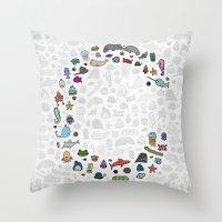 letter c - sea creatures Throw Pillow