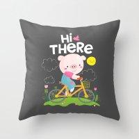 Pig On A Bike Throw Pillow
