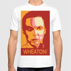 WHEATON! Mens Fitted Tee SMALL White