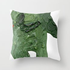 el monstro verde Throw Pillow