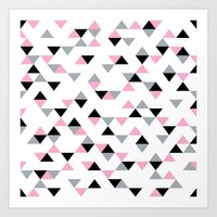 Triangles Black and Pink Art Print