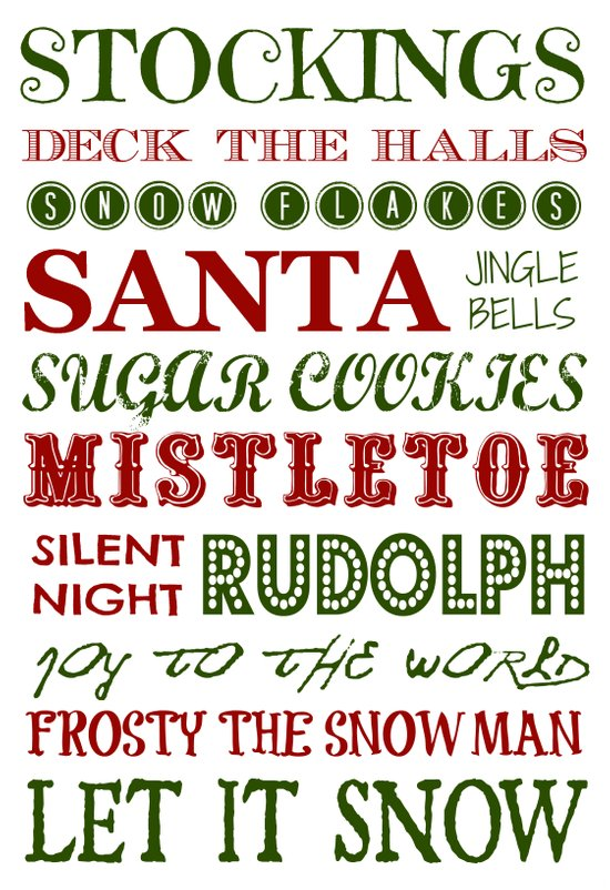 Subway Style Christmas Words 2 Art Print