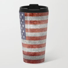 America flag with vintage retro distressed textures Travel Mug