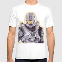 Halo Master Chief Mens Fitted Tee White SMALL