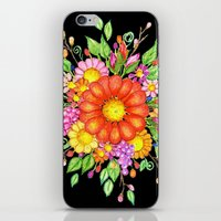 Big Red Daisy Bouquet on Black iPhone & iPod Skin