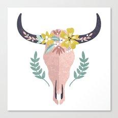 Desert Bull Skull with Flower Crown Art Print Canvas Print