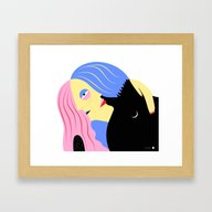 Framed Art Print featuring Hugging Couple by Alba Blázquez