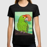 Parrot illustration Womens Fitted Tee Tri-Black SMALL