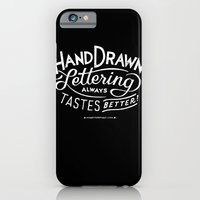 hand drawn lettering ALWAYS tastes better: black  iPhone 6 Slim Case