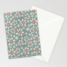 Gray Floral Stationery Cards