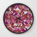 Bright watercolor floral mandala henna hand drawn pattern Wall Clock