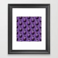 Funny Cartoon Eggplant Pattern Framed Art Print