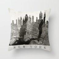 New York Skyline + Map #… Throw Pillow