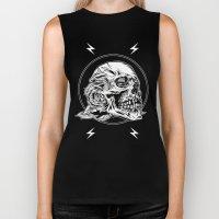 Skullflower Black and White  Biker Tank