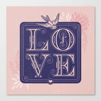 love type swallow Canvas Print