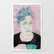 David Lynch drinking coffee. Canvas Print